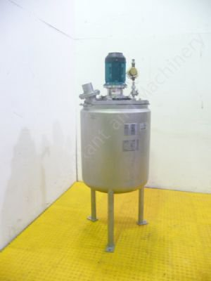 ~200 Ltr Stainless Steel Jacketed Tank with Top-Mounted Mixer