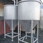 ~1,500 Ltr Stainless Steel Tank with Conical Bottom