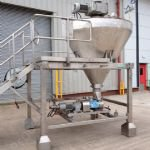 ~1,000 Ltr Stainless Steel Jacketed V-Type Mixing System with Product Pump