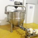 ~750 Ltr Jacketed Tank with Full-Sweep Mixer & Waukesha Lobe Pump