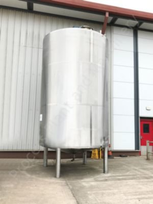 25,000 Ltr Stainless Steel Jacketed Cream Tank with Top-Mounted Paddle Mixer