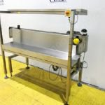 1.9m Long Slat Band Belt Driven Conveyor with Stainless Steel Worktop
