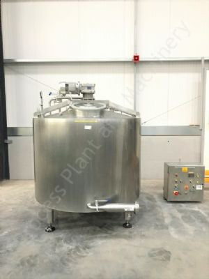 1,500 Ltr Stainless Steel Jacketed Tank with Full-Sweep Gate-Type Mixer